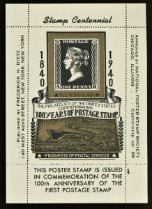 1940 Centennial 100 Anniversary of Postage Stamps  National Poster Society NY