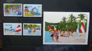 Grenada 1985 Water Sports set & Miniature Sheet MNH