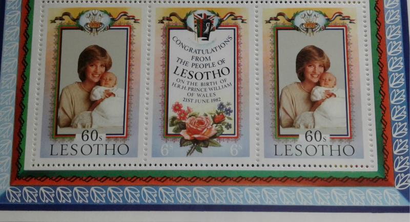 Lesotho Princess Diana & Prince William Sheets of 6 stamps/1 of #379 & 5 of #380
