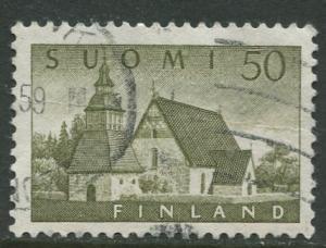Finland - Scott 338 - Church of Lammi -1956- Used - Single 50m Stamp