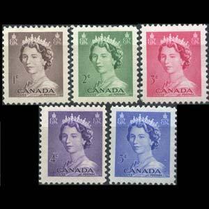 CANADA 1953 - Scott# 325-9 Queen Set of 5 NH