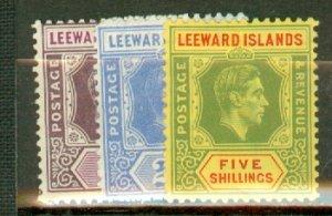 S: Leeward Islands 103-113, 105a mint CV $45.85; scan shows only a few