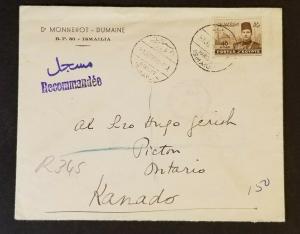1939 Ismailia Egypt Ontario Canada Spelled Kanado Registered Commercial Cover