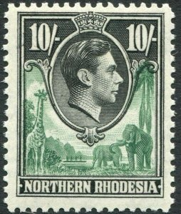 NORTHERN RHODESIA-1938-52 10/- Green & Black Sg 44 UNMOUNTED MINT V35930