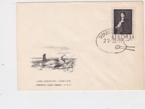 Poland 1959 Jozer Chelmonski Artist Painter Easel slogan FDC Stamps Cover  22991
