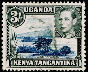 KENYA UGANDA TANGANYIKA  SG147a, 3s deep violet-blue & black, FINE USED. PERF 11
