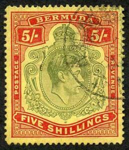 Bermuda SG118b KGVI 5/- Pale Green and Red/yellow Line Perf 14.25 (Ref 101)