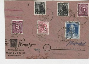 Germany Allied Occ. Hamburg 1947 Multi Stamps to Jerxheim Cover FRONT Ref 32615