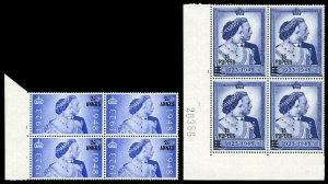 Oman 1948 KGVI Silver Wedding set complete in cylinger blocks MNH. SG 25-26.