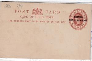 British Bechuanaland QV 1886 1d O/P Postal Stationery Card J2306