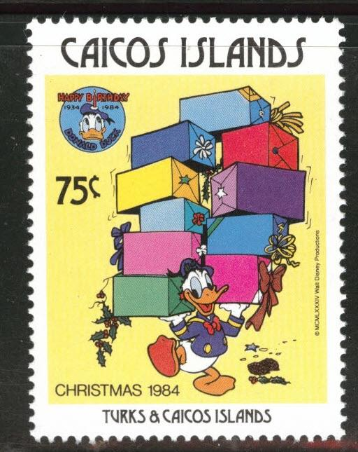 CAICOS Islands Scott 57 MNH** 1984 Donald Duck Christmas