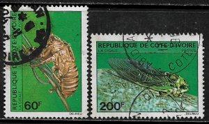 Ivory Coast #565-6 Used Set - Insect