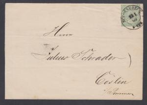 North German Confederation Sc 2 used on 1869 cover SCHOENEBERG-COSLIN