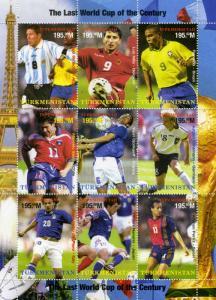 TURKMENISTAN SPACE Orbita Football World Cup 1998 Sheet Perforated Mint (NH)