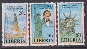 Liberia 1046-1048 Statue of Liberty MNH VF