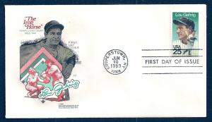 UNITED STATES FDC 25¢ Lou Gehrig 1989 Farnam