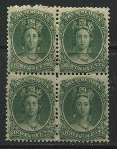 Nova Scotia QV 1860  8 1/ 2 cents mint o.g. hinged block of 4