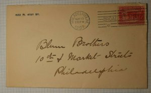 US Sc# 329 Used On Cover 1907 Machine Cancel Phildelphia PA Broadway Station