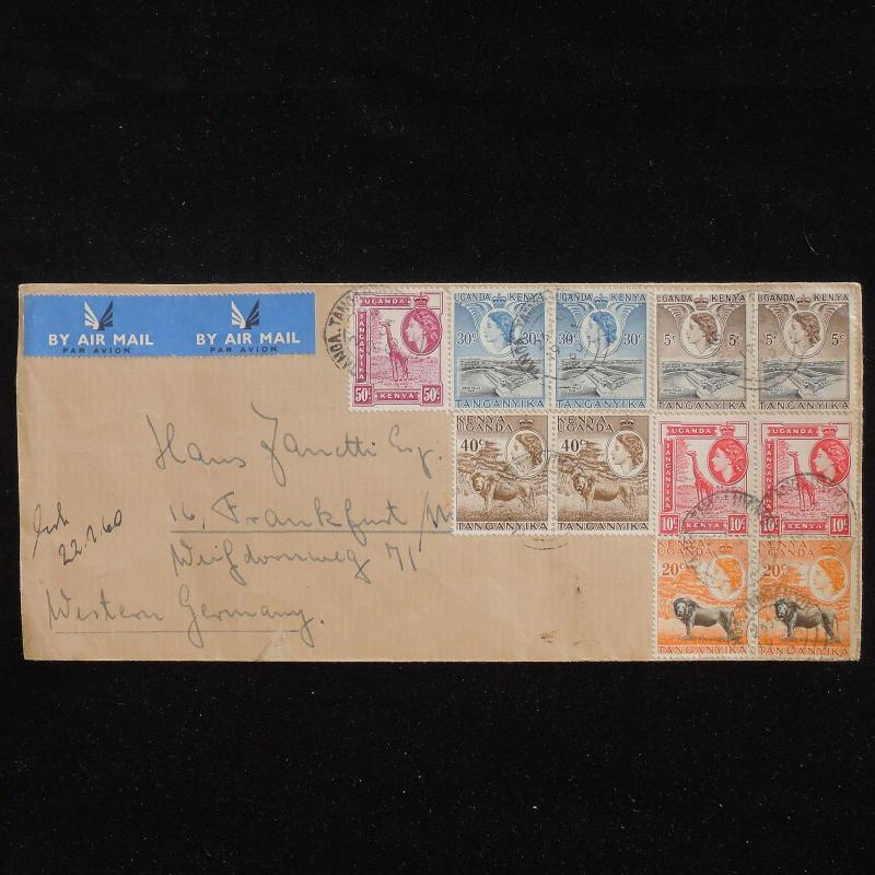 WS-F808 BRITISH KUT - Airmail, 1960 Tanga To Germany, Great Franking QEII Cover