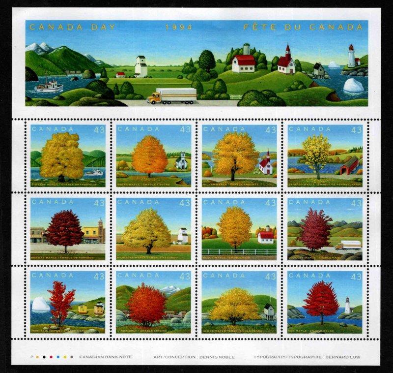 Canada Scott 1524 MNH** 1994 Maple Tree Pane of 12