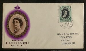 1953 Tortola Virgin Islands First Day Cover Queen Elizabeth 2 coronation QE2 FDC