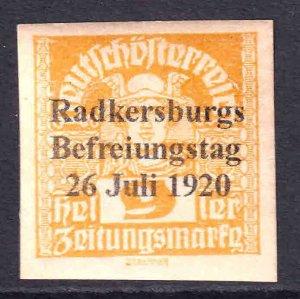 AUSTRIA 9h NEWSPAPER RADKERSBURGS 26 JULI 1920 LIBERATION OVERPRINT OG H U/M VF