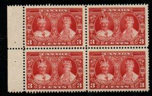 Canada Sc 213 1935 3 c  G V & Queen Mary stamp block of 4 mint NH