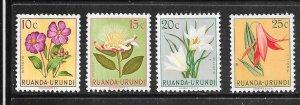 Ruanda-Urundi #114-117  Flowers  (MLH) CV $1.00