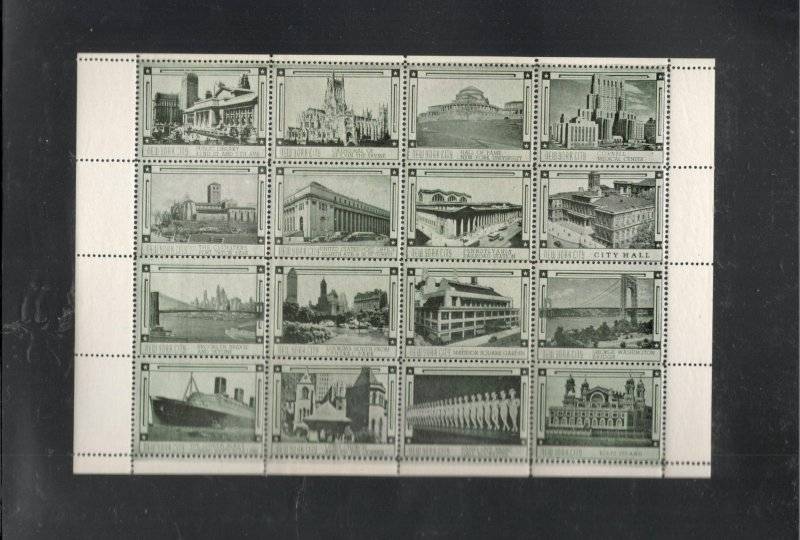 EARLY NEW YORK CITY POSTER STAMPS, FULL SHEET
