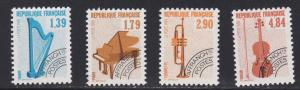 France # 2169-2172, Musical Instruments, Pre Cancels, NH, 1/2 Cat.
