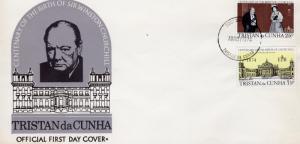 Tristan da Cunha 1974 Sc#196/197 SIR WINSTON CHURCHILL Set (2) FDC