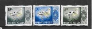 BIRDS - MALDIVES #177, 180, 185  (BIRDS FROM FLOWER ISSUE)  MNH