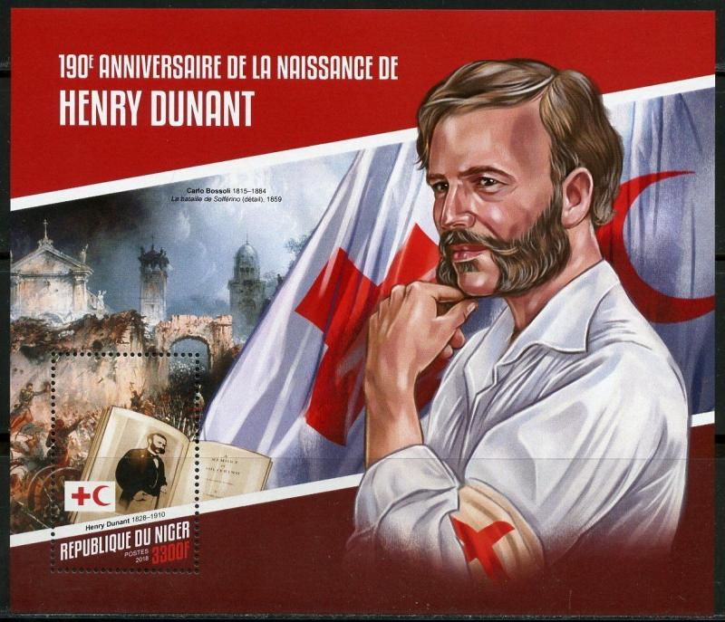NIGER 2018 190th BIRTH ANNIVERSARY OF HENRY DUNANT RED CROSS  S/SHEET  MINT NH
