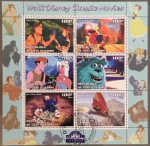 Cote d´Ivoire Ivory Cost 2003 M/S Disney Cartoon Animation Movie Stamps CTO (1)