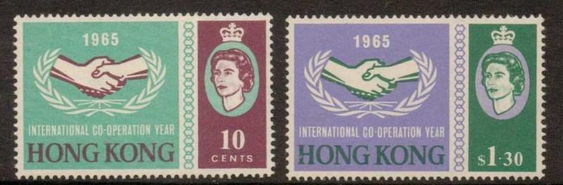 HONG KONG SG216/7 1965 INT. CO-OPERATION YEAR MTD MINT