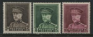 Belgium 1931 high values 2.50, 5, and 10 francs mint o.g.