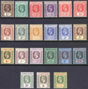 Leeward Is 1921 1/4d-5s GV Script SG 58-78 Scott 61-81 LMM/MLH Cat £187($252)
