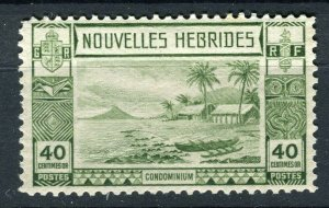 FRENCH; NEW HEBRIDES 1938 early pictorial issue fine Mint hinged 40c. value