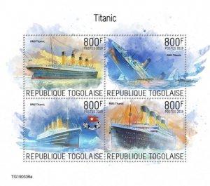 TOGO- 2019 - Titanic - Perf 4v Sheet - MNH