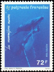 French Polynesia #634-636, Complete Set(3), 1994, Sea Life, Whales, Never Hinged