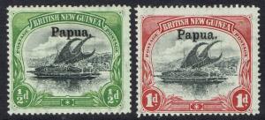 PAPUA 1906 LAKATOI OVERPRINTED LARGE PAPUA 1/2D AND 1D VERT WMK