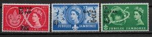 1957 Qatar 16-18 World Scout Jubilee Jamboree C/S of 3 MNH