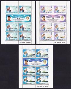 Seychelles Charles and Diana Royal Wedding 3 sheetlets SG#505=509b MI#483-488
