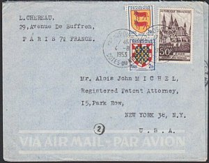 FRANCE 1953 53f airmail rate cover Paris to USA.............................K324