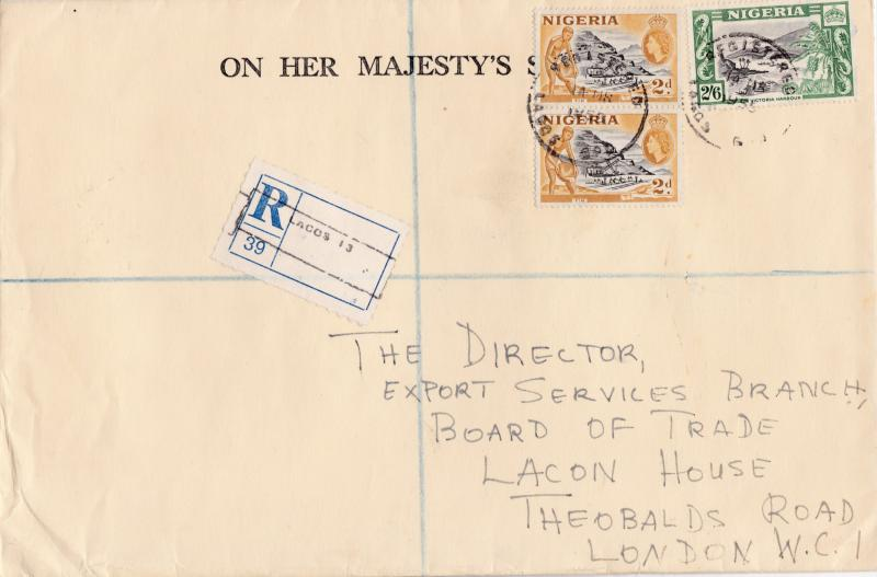 Nigeria 1955 QEII Large Registered Official OHMS Cover Lagos to London VF