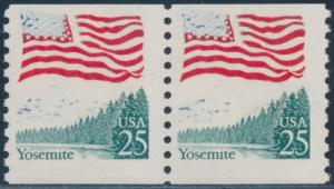 #2280 VAR. 25¢ YOSEMITE PAIR WITH MOSTLY BLUE COLOR OMITTED ERROR BS7922