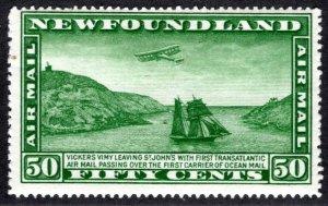 AM11b, Newfoundland, 50c, Air Mail, F, MLHOG, Airplane and Packet Ship, Vick