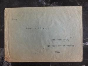 1939 Slovakia Commercial Cover Currency Control To New York USA Stamp #25