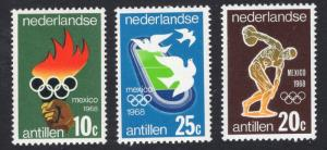 Netherlands Antilles  #393-395  1968  MNH Olympic games Mexico complete