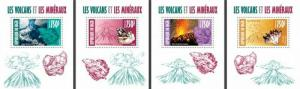 Niger - 2013 - Volcanoes and Minerals-4 Stamp Souvenir Sheets 14A-251